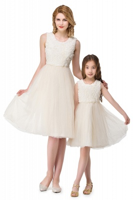 HEIDI| A-line Knee Length Tulle Jewel Sleeveless Lace Mother Daughter Dresses_4