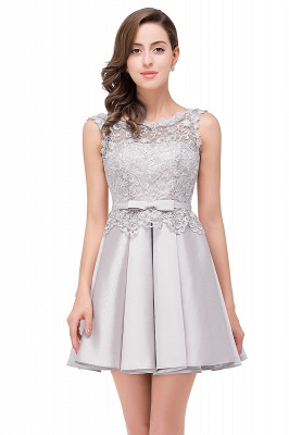 ADELAIDE | A-line Knee-length Satin Homecoming Dress with Lace_6