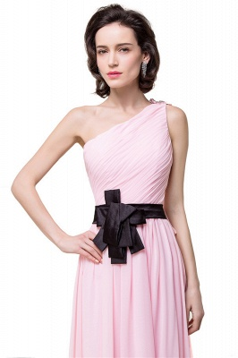 HAILEY | A-line One-shoulder Floor-length Ruffle Pink Chiffon Bridesmaid Dresses With Sashes_6