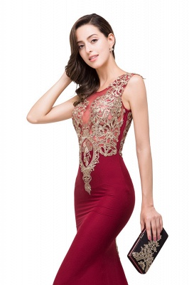 HADASSAH | Mermaid Crew Sweep-length Burgundy Formal Dresses With Applique_7