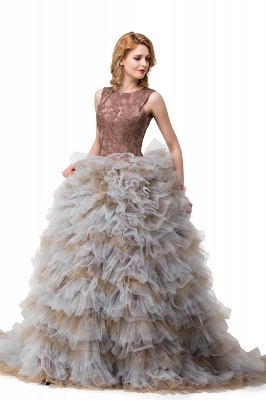 HEAVEN| Ball Gown Court Train Jewel Sleeveless Tulle Embroidery Mother Daughter Dresses_5