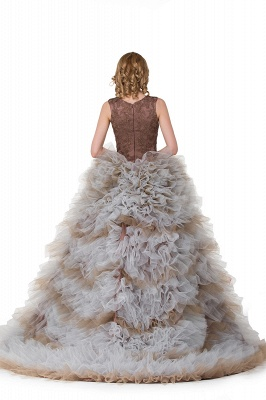 HEAVEN| Ball Gown Court Train Jewel Sleeveless Tulle Embroidery Mother Daughter Dresses_3
