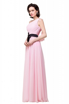 HAILEY | A-line One-shoulder Floor-length Ruffle Pink Chiffon Bridesmaid Dresses With Sashes_5