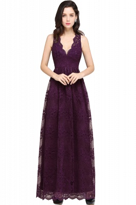 CHAYA | Sheath V-neck Floor-length Lace Navy Blue Prom Dress_3