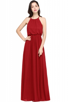 CHEYENNE | A-line Floor-length Chiffon Navy Blue Simple Prom Dress_1