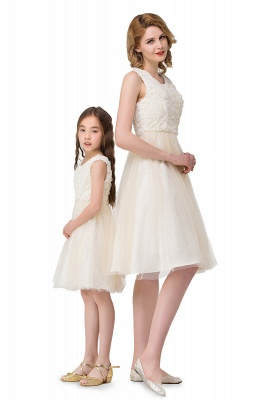 HEIDI| A-line Knee Length Tulle Jewel Sleeveless Lace Mother Daughter Dresses_3