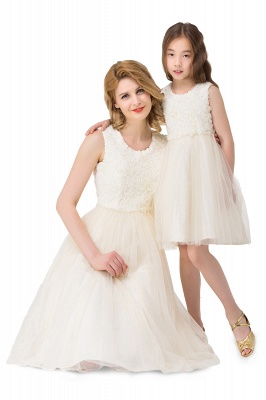 HEIDI| A-line Knee Length Tulle Jewel Sleeveless Lace Mother Daughter Dresses_6
