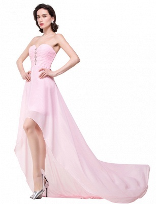HALEY | A-line Sweetheart Hi-Lo Ruffle Pink Chiffon Bridesmaid Dresses With Sequins_7