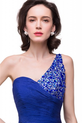 GRACELYN | A-line V-Neck Hi-lo One-shoulder Ruffle Chiffon Blue Prom Dresses With Crystal_7