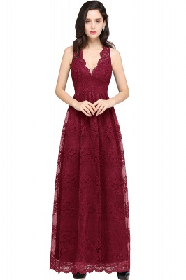 CHAYA | Sheath V-neck Floor-length Lace Navy Blue Prom Dress_2