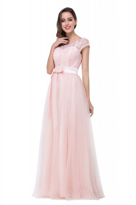 HAILEE | A-line Crew Floor-length Sashes Chiffon Bridesmaid Dresses with Applique_1