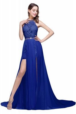 ADELE | A-line Halter Chiffon Evening Dress with Lace_6