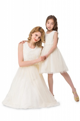 HEIDI| A-line Knee Length Tulle Jewel Sleeveless Lace Mother Daughter Dresses_7