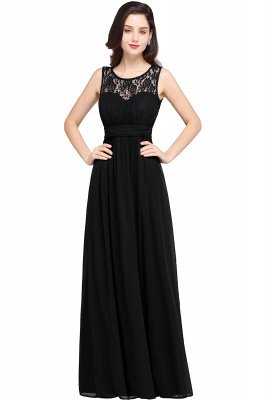 CHELSEA | Sheath Round neck Floor-length Navy Blue Prom Dress_7