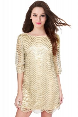 AIYANA | Sheath Scoop Short Sequins Cocktail Dresses With Long Sleeves_1