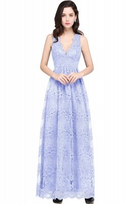 CHAYA | Sheath V-neck Floor-length Lace Navy Blue Prom Dress_4