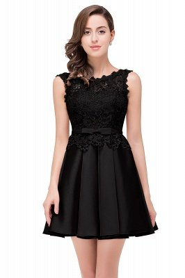 ADELAIDE | A-line Knee-length Satin Homecoming Dress with Lace_5