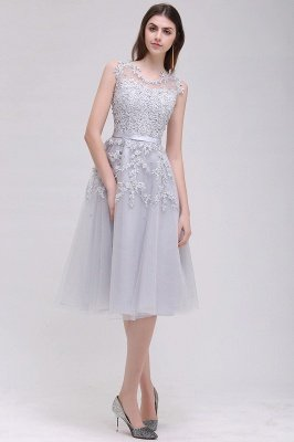 Tea-Length A-line Sheer-Neck Amazing Lace-Appliques Beaded Party Dresses_6