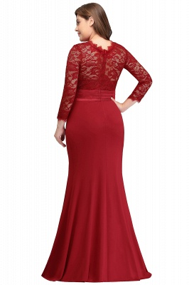 JACQUELINE | Mermaid Crew Floor Length Plus size Lace Formal Dresses with Sash_6