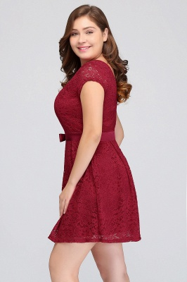JALIYAH | A-Line Scoop Short Plus size Short Sleeves Lace Burgundy Cocktail Dresses with Bow_7
