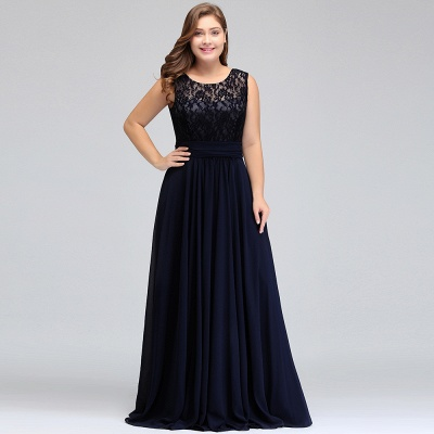 IVY | A-Line Crew Long Plus size Sleeveless Dark Navy Formal Dresses with Lace_11