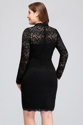 JANE   Mermaid Crew Short Plus size Long Sleeves Lace Black Cocktail Dresses_10