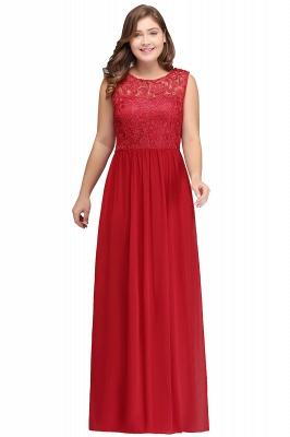ISLA | A-Line Crew Floor Length Sleeveless Plus size Lace Chiffon Evening Dresses_1