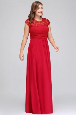 IMANI   A-Line Crew Floor length Plus size Cap sleeves Lace Chiffon Evening Dresses with Appliques_9