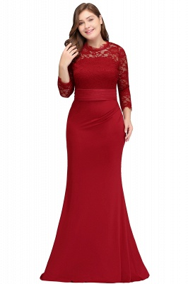JACQUELINE | Mermaid Crew Floor Length Plus size Lace Formal Dresses with Sash_1