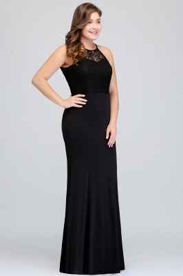 JAELYNN | Mermaid Halter Floor Length Plus size Black Evening Dresses with Lace_4