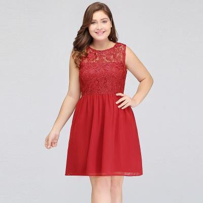 HENLEY   A-Line Crew Short Sleeveless Lace Chiffon Red Cocktail Dresses_9
