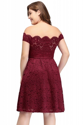 JANIYA | A-Line Off-Shoulder Knee Length Plus size Lace Burgundy Cocktail Dresses_3