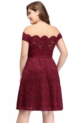 JANIYA | A-Line Off-Shoulder Knee Length Plus size Lace Burgundy Cocktail Dresses_3