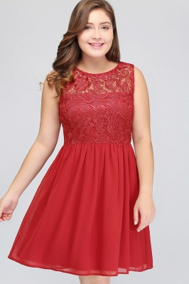 HENLEY   A-Line Crew Short Sleeveless Lace Chiffon Red Cocktail Dresses_7