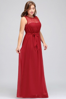 JAELYN | A-Line Crew Long Sleeveless Plus size Chiffon Evening Dresses with Ruffles Bow_5