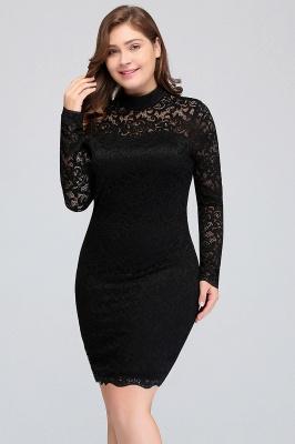 JANE   Mermaid Crew Short Plus size Long Sleeves Lace Black Cocktail Dresses_5