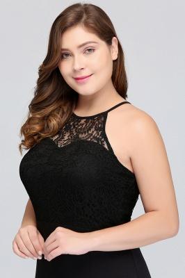 JAELYNN | Mermaid Halter Floor Length Plus size Black Evening Dresses with Lace_6