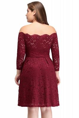 JASMIN | A-Line Off-Shoulder Short Plis size Lace Burgundy Cocktail Dresses_3