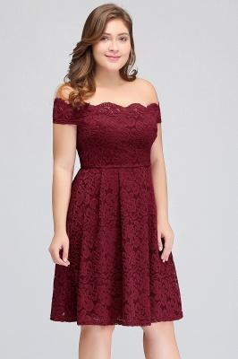 JANIYA | A-Line Off-Shoulder Knee Length Plus size Lace Burgundy Cocktail Dresses_10