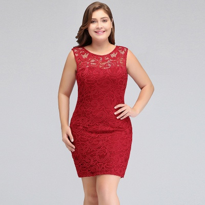 JAMIE | Mermaid Scoop Plus size Short Sleeveless Lace Cocktail Dresses_11