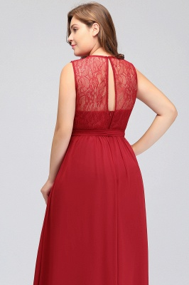 JAELYN | A-Line Crew Long Sleeveless Plus size Chiffon Evening Dresses with Ruffles Bow_10