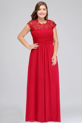 IMANI   A-Line Crew Floor length Plus size Cap sleeves Lace Chiffon Evening Dresses with Appliques_10