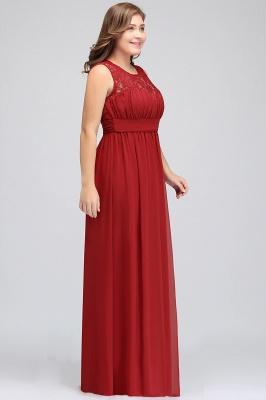 JADA   A-Line Crew Long Sleeveless Lace Chiffon Evening Dresses with Ruffles_3
