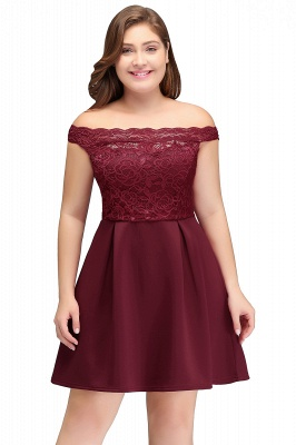 JAYCEE | A-Line Off-Shoulder Short Lace Chiffon Plus size Lace Burgundy Cocktail Dresses_2