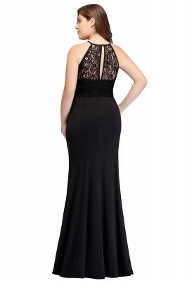 JAELYNN | Mermaid Halter Floor Length Plus size Black Evening Dresses with Lace_3