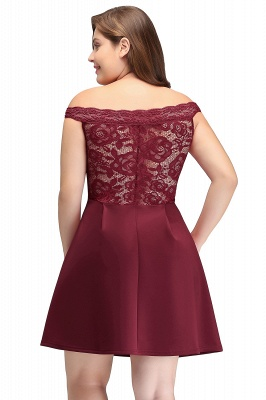 JAYCEE | A-Line Off-Shoulder Short Lace Chiffon Plus size Lace Burgundy Cocktail Dresses_3
