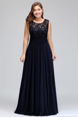 IVY | A-Line Crew Long Plus size Sleeveless Dark Navy Formal Dresses with Lace_14