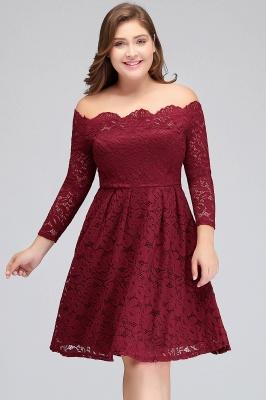 JASMIN | A-Line Off-Shoulder Short Plis size Lace Burgundy Cocktail Dresses_5