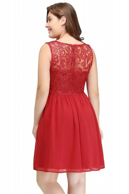 HENLEY   A-Line Crew Short Sleeveless Lace Chiffon Red Cocktail Dresses_8