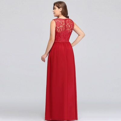 ISLA | A-Line Crew Floor Length Sleeveless Plus size Lace Chiffon Evening Dresses_7